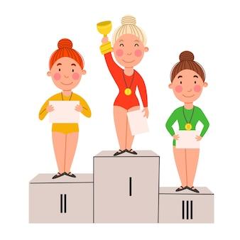 연단에 서 있는 우승 어린이들. 졸업장과 메달을 가진 소녀들.