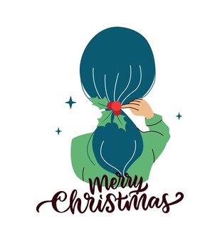 Зимняя девушка веселые рождественские женщины и голубая прическа хороши для праздничных дизайнов.