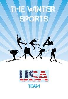 Сборная сша по зимним видам спорта на белом фоне