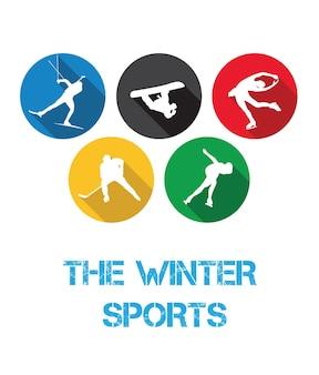 白い背景の上の冬のスポーツ選手