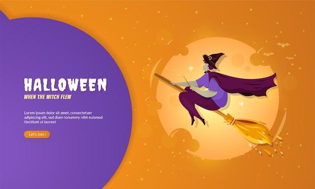 Ведьма летела на метле для концепции хэллоуина