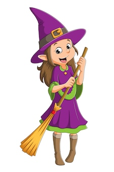 마녀 소녀는 일러스트레이션의 할로윈을 위해 마법의 빗자루를 들고 있다