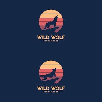 Волк воет на лунный логотип