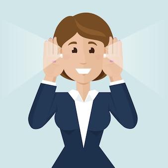 여자는 귀에 손을 대고 뉴스를 듣습니다. 정보 분석. 평면 스타일에 좋은 news.modern 벡터 일러스트를 듣고.