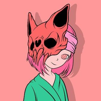 コウモリのマスクの女性