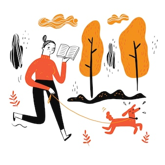 Женщина гуляет с собакой, читая любимую книгу, стиль каракули иллюстрации
