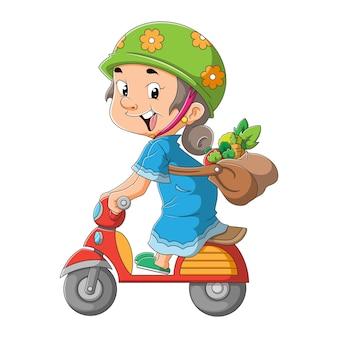 Женщина с рынка катается на мотоцикле иллюстрации