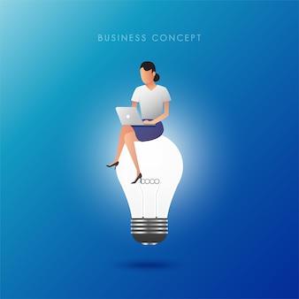 전구에서 작업하는 여성. 창의적 사고와 아이디어 개념.