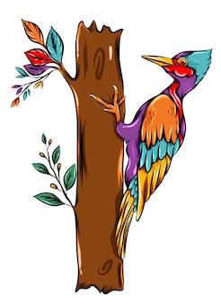 Дятел с разноцветными птичьими перьями