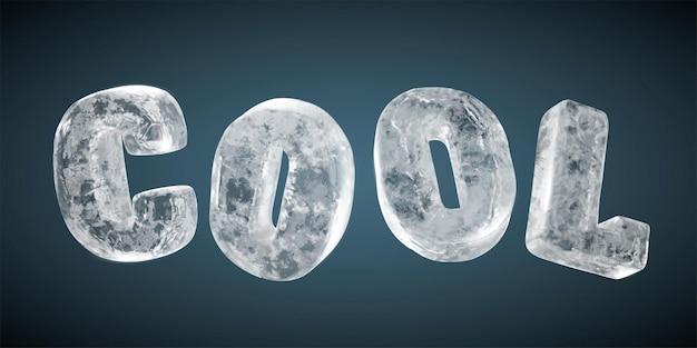 짙은 파란색 배경, 3d 그림에 격리된 현실적인 얼어붙은 얼음으로 만든 cool이라는 단어