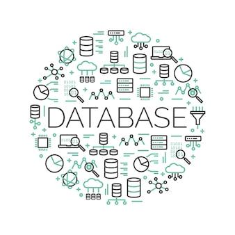 아이콘으로 둘러싸인 단어 데이터베이스