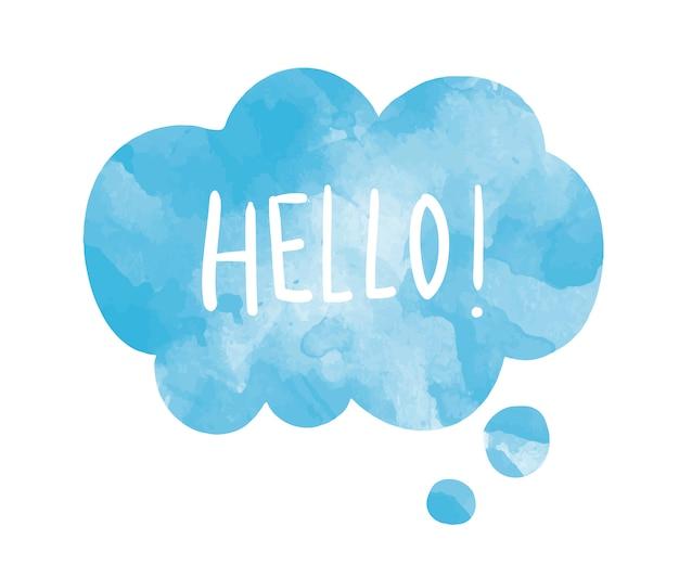 Слово hello на векторном пузыре речи