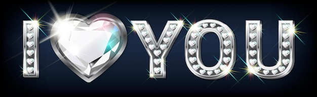 내가 당신을 사랑한다는 말. 반짝이는 다이아몬드가 세팅 된 하트 모양의 실버 글씨. 발렌타인 데이 배너. 축하합니다.