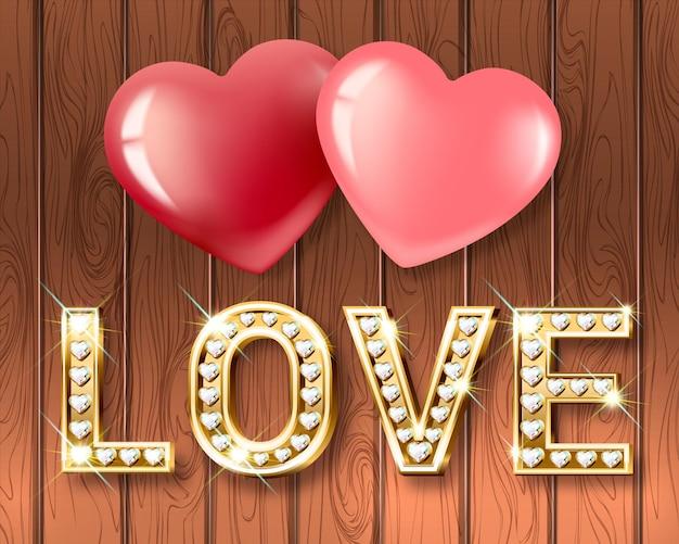 사랑이라는 단어와 함께 두 마음. 반짝이는 다이아몬드가 세팅 된 화이트 골드 하트 모양의 글자.
