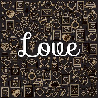 Слово любовь, окруженное значками и сердцами
