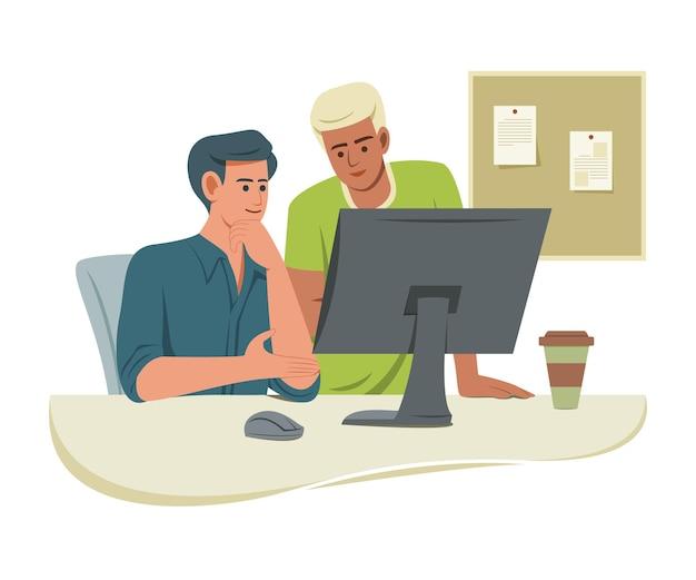 일하는 사람들은 공동 작업을 위해 사무실에서 컴퓨터를 바라 봅니다.