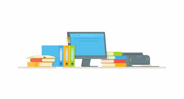 男子生徒または学生の職場。宿題をするイラスト。オンライン学習。