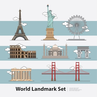 Набор иллюстраций world landmark travel