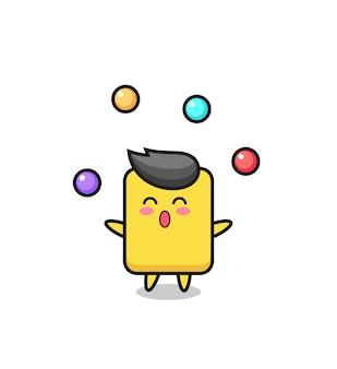 공을 저글링하는 옐로우 카드 서커스 만화, 티셔츠, 스티커, 로고 요소를 위한 귀여운 스타일 디자인