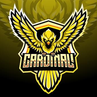 黄色の枢機卿の鳥のマスコット。 eスポーツロゴデザイン