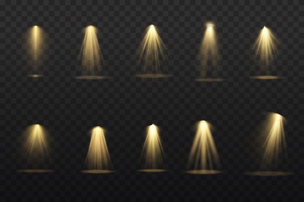노란색 스포트라이트가 빛납니다. 램프 또는 스포트라이트의 빛.