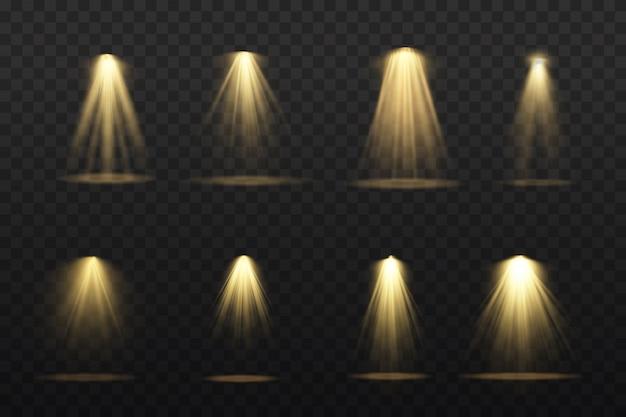 무대에서 노란색 스포트라이트가 빛납니다. 가벼운 전용 렌즈 플래시 조명 효과. 램프 또는 스포트 라이트에서 추상 빛입니다. 조명 장면. 스포트 라이트 아래 연단.