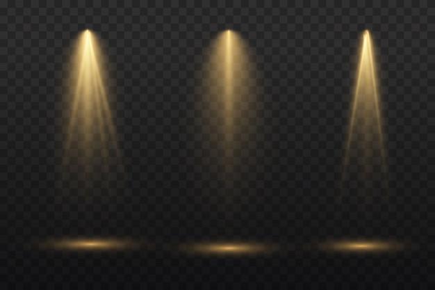 무대에서 노란색 스포트라이트가 빛납니다.