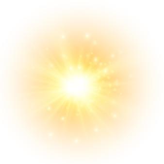 黄色い太陽が光線を発することなく柔らかな輝きを放ち、星が輝きを放ちます Premiumベクター