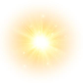 黄色い太陽が光線を発することなく柔らかな輝きを放ち、星が輝きを放ちます
