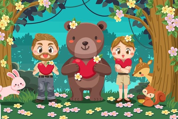 숲에서 야생 동물과 젊은 숲 보호자 남자와 여자