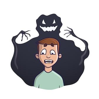 Молодой человек и теневое чудовище позади него. на тему бессонницы, кошмаров, страхов. изолированные на белом фоне.