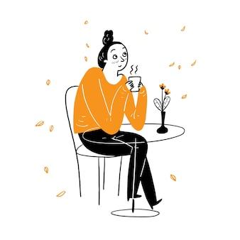 젊은 예쁜 여자 편안한 카페 마시는 커피, 벡터 일러스트 만화 낙서 스타일