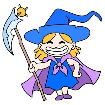 Юная ведьма с помощью волшебной палочки весело смеялась, каракули рисовать каваи. векторная иллюстрация искусства