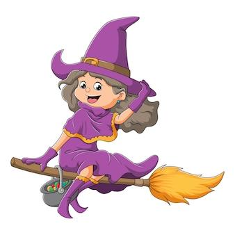 젊은 마녀 여성이 삽화의 마법 빗자루로 날고 있다