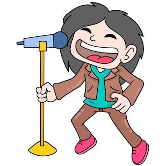 밴드의 젊은이들은 벡터 일러스트레이션 아트로 선율적으로 노래하고 있습니다. 낙서 아이콘 이미지 귀엽다.