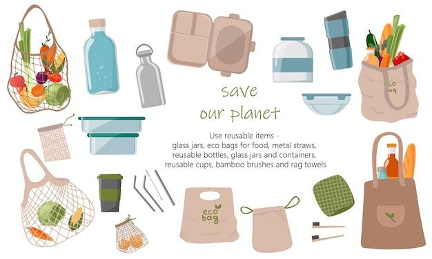 Коллекция zero waste долговечных и многоразовых продуктов или продуктов.