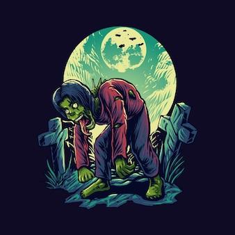 묘지 그림에 좀비