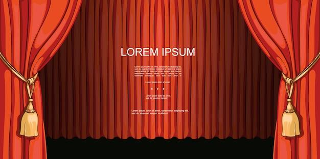 극장 및 엔터테인먼트는 만화 스타일 일러스트에서 열리고 닫힌 빨간색 아름다운 커튼이있는 프리미어 템플릿을 보여줍니다.