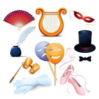 Theater background flat icons set