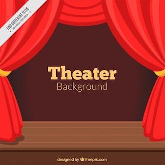 赤いカーテンと木製のステージと劇場の背景