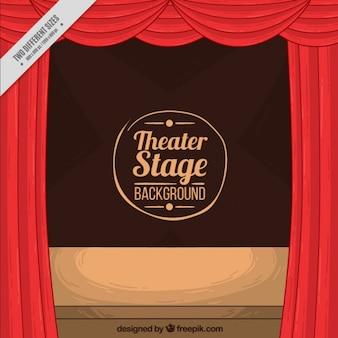 Sfondo teatro con palco di legno e tende rosse