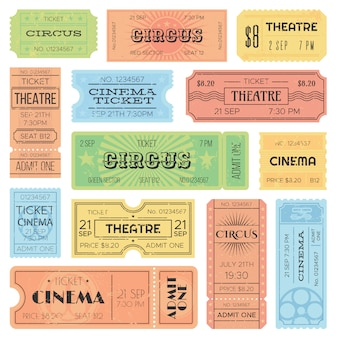 Theater or cinema admit one tickets, circus coupons and vintage old receipt.