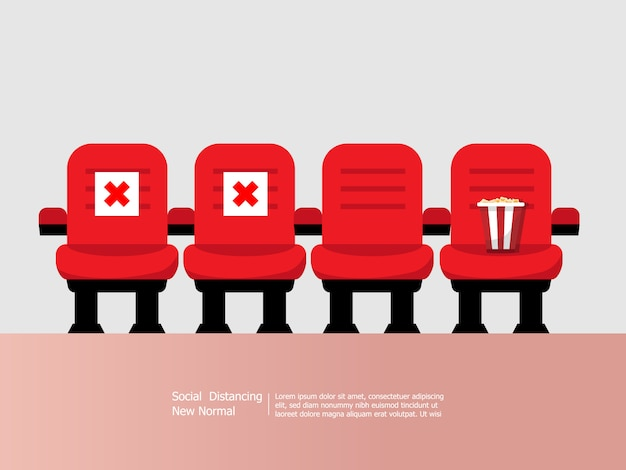 Theater and cinema seats with social distancing concept