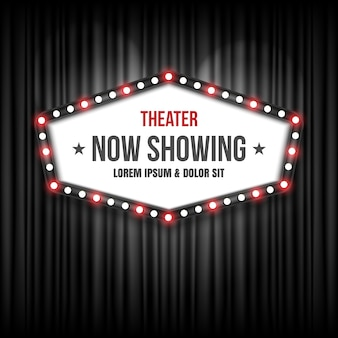 Theater Cinema Sign On Black Curtain
