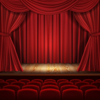 Theater Concept Realistic Luxurious Red Velvet Curtains With Theatre Scarlet Seats