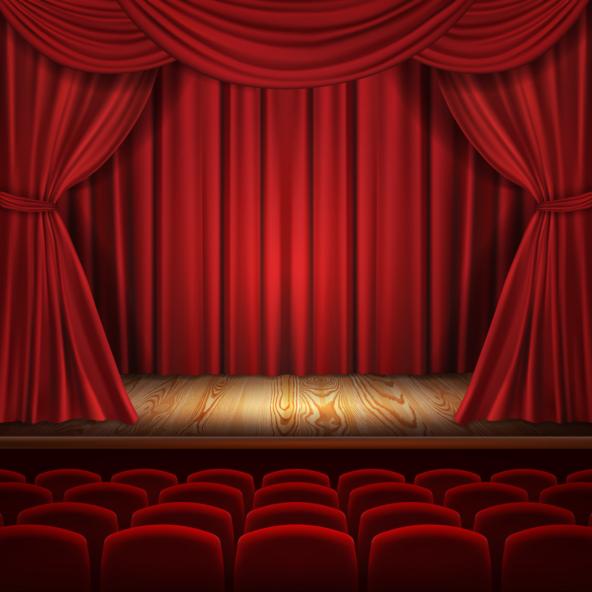 Theater concept, realistic luxurious red velvet curtains with theatre scarlet seats