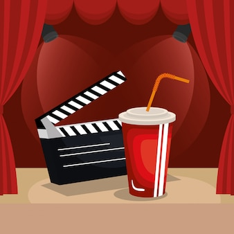Theater courtain with cinema icons
