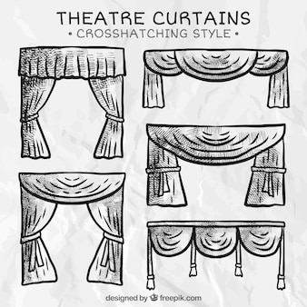 Theater curtains in cross hatching style