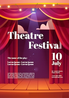 Theater festival poster with backstage red curtains and wooden scene with glowing spotlights and garland