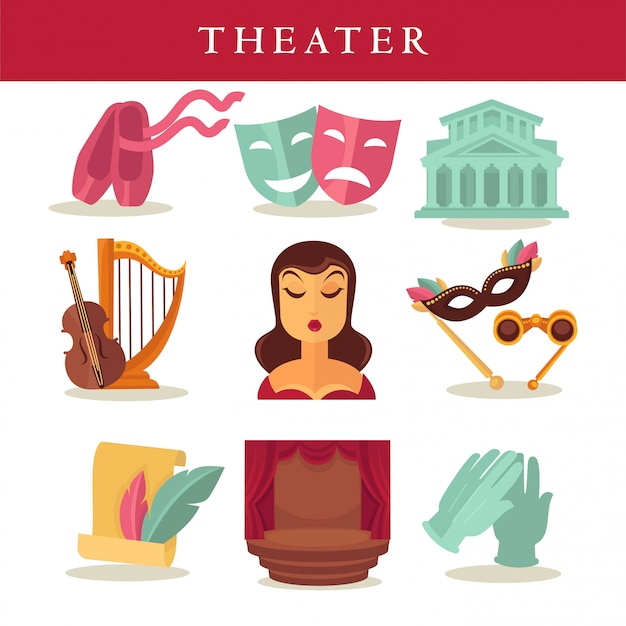 Theater flat poster of symbolic equipments on white.